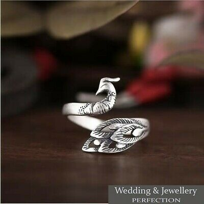 100% 925 Sterling Silver Peacock Ring Band Open Finger Fully Adjustable Jewelry • 7.95£