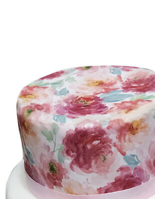 A4 Watercolour Peony Floral Flower Wallpaper Edible Icing Cake Topper Decoration • 2.89£