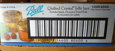 12 Vintage 4 Oz Ball Quilted Crystal Glass Jelly Jars New In Box  • 12.50$