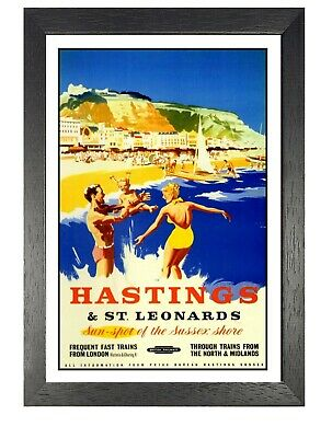 £5.99 • Buy Hastings 3 Railway Old Advert Poster East Sussex Photo Family Holiday Beach