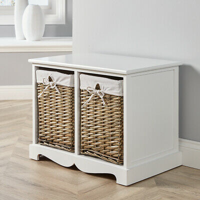 White Wooden 2 Drawer Chest Storage Unit Willow Wicker Baskets Organiser Hallway • 69.99£