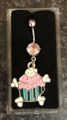NEW & SEALED Pink Cupcakes  Dangle Belly Navel Bar Ring • 3.99£