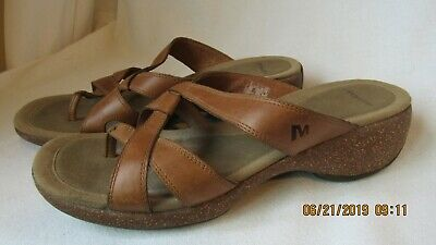 $25.99 • Buy Women MERRELL Sundial Leather Cross Wedge Sandals Shoes Tan Size 9 😎