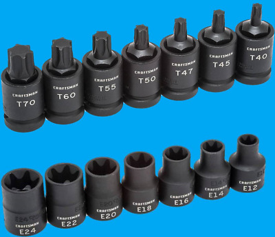 $149.95 • Buy Craftsman 1/2  Drive Impact 14 Piece Torx E-Torx Bit Socket Set 7 T40-70 E12-24