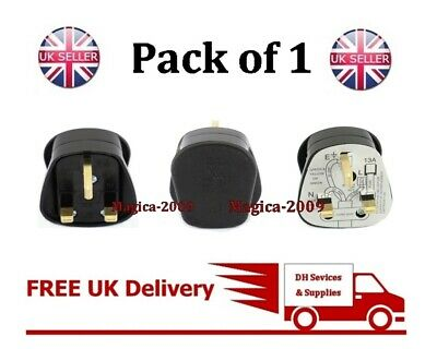 NEW UK 3PIN 13 AMP PLUG FUSED Fitted BLACK MAINS 240V 13A Plug BS1363 Household • 2.49£