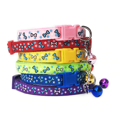 Adjustable Puppy Bone Collar Warning Bell Cat Pet Kitten Snap Buckle Colourful • 3.79£