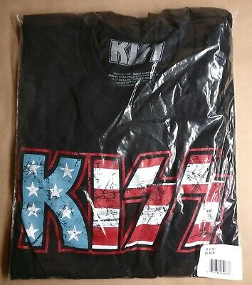 KISS Shirt American Flag Logo Rock Band Black Licensed Tee Size Small-2XL • 15$
