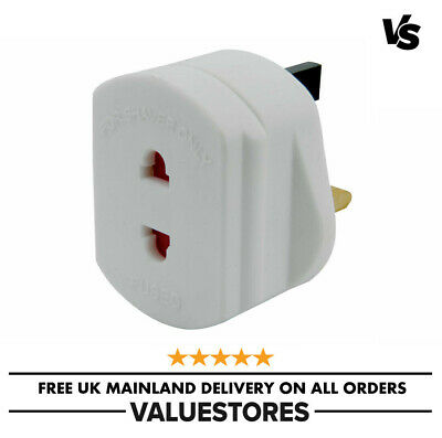 2-Pin To 3-Pin UK Shaver Adapter Plug Socket Converter EU European Euro Europe • 4.99£
