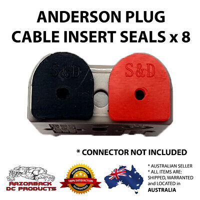 AU8.95 • Buy 8 X Waterproof Anderson Plug Cable Seal Inserts RED & BLACK Anderson Caps 4 Pair