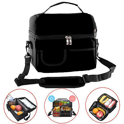 AU17.25 • Buy Insulated Dual Compartment Lunch Bag Reusable Lunch Bag With Shoulder Strap AU