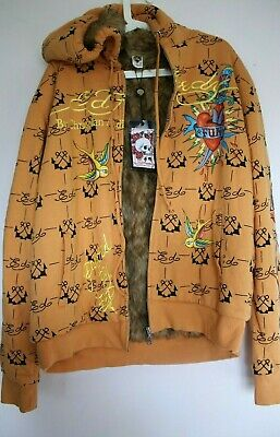 Authentic Ed Hardy Hoodie By Christian Audigier Faux Fur Orange XL (NEW) • 250£