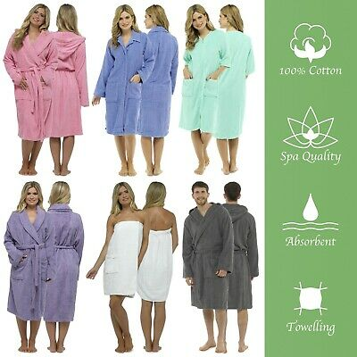 Mens Or Ladies Towelling Bath Robe Dressing Gown 100% Cotton Terry Spa Soft Warm • 11.97£