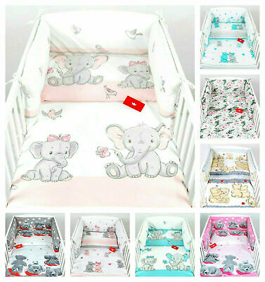 LUXURY 3 PIECES NURSERY- BABY BEDDING SET BUMPER-PILLOW-QUILT COVERS  Fit Cot • 18.99£