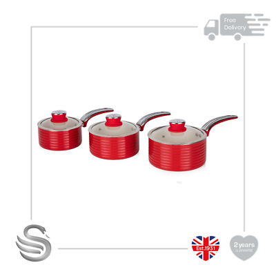 Swan Retro 3pc Saucepan Set Aluminium Non-Stick Ceramic Coating Soft Touch W/Lid • 49.99£