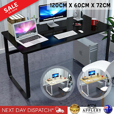 AU141.91 • Buy New Large Office Table Thick Wood & Metal Home Study Computer Desktop Desk