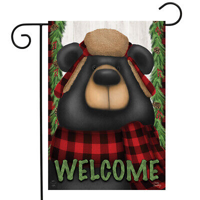 $8.99 • Buy Woodsy Bear Welcome Winter Garden Flag Outdoors 12.5  X 18  Briarwood Lane