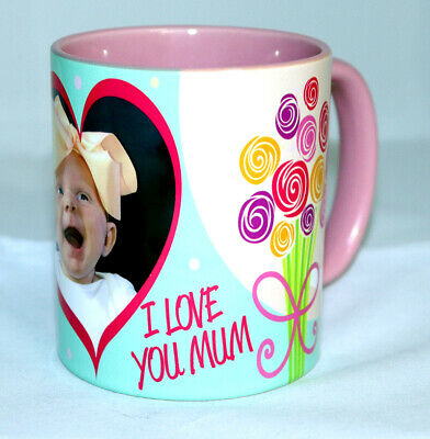 I Love You Mum Personalised Photo Mug Coloured Rim & Handle • 7.99£