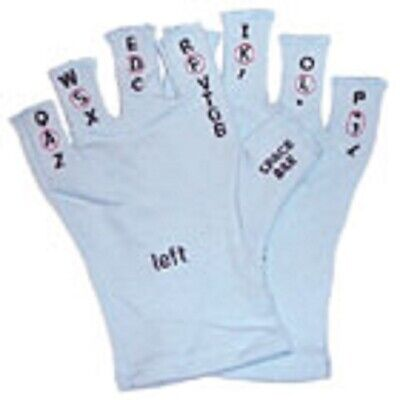 $10 • Buy Touchtypers Keyboarding Typing Computer Gloves Sewn Letters With Book Size Blue