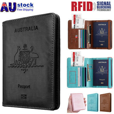 AU13.99 • Buy Slim Leather Travel Passport Wallet Holder RFID Blocking ID Card Case Cover AU