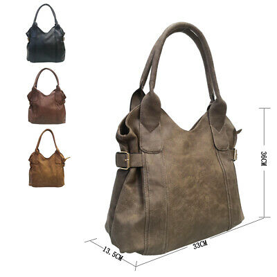 New Women's Large Designer Style PU Leather Tote Shopper Hand Bag • 9.99£