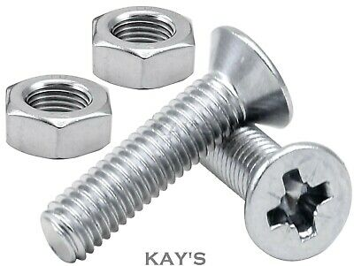 £2.24 • Buy M2.5, M3, M4 Pozi Countersunk Machine Screws With Nuts Zinc Plated Bzp Csk Bolts