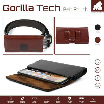 £6.99 • Buy Mobile Phone Genuine Leather Holster Belt Pouch Case Strong Twin Magnetic Flip