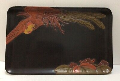 Quality Japanese Vintage High Relief Detailed Lacquer Tray • 45£