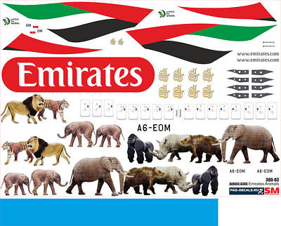 1/144 PAS-DECALS Revell Airbus A-380 Emirates Animals Super Decals Limited • 18.60£