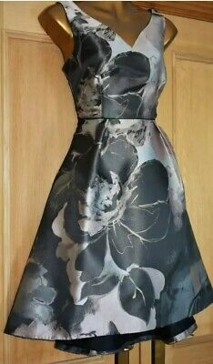 Coast Grey Silver Black High Low Evening Occasion Wedding Party Dress Size 10 • 45£