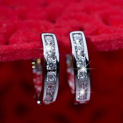 AU12.99 • Buy 18k White Gold Gf Made With Swarovski Crystal Huggies Classic Earrings SMALL