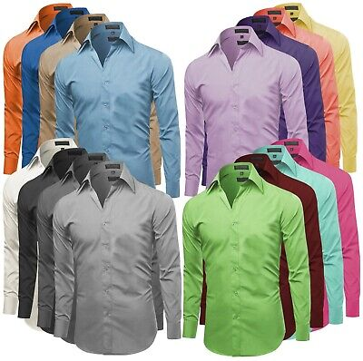 $22.99 • Buy Omega Italy Men's Premium Slim Fit Button Up Long Sleeve Solid Color Dress Shirt