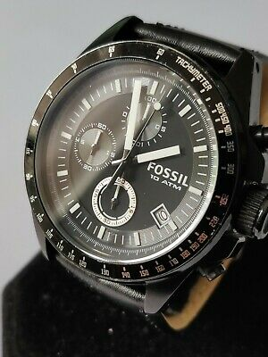 View Details Mens Fossil Watch Ch2601 Black Chronograph Date Genuine Designer Leather Steel • 31.00£