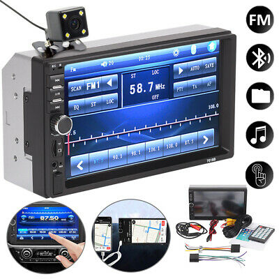 7''Car Radio Stereo Touch Screen Double 2Din Bluetooth MP5 AUX FM In-Dash+Camera • 25.99£