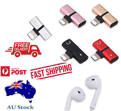 AU5.45 • Buy Lightning Audio Headphone Adapter Charger Splitter For IPhone 7 8 X XS XR MEL/AU
