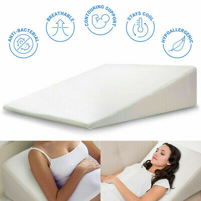 Large Wedge Pillow Memory Foam Back Support Pillow Acid Reflux Raised Bed Pillow • 17.95£