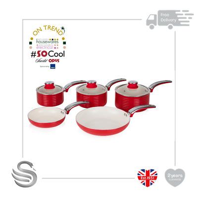 Swan Retro 5pc Fry/Saucepan Set Aluminium Non-Stick Ceramic Coating Soft Touch • 69.99£