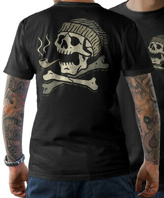 T-Shirt - Captain Skull Sailor Ahoi Skull Tattoo Anchor Men's • 19.76£