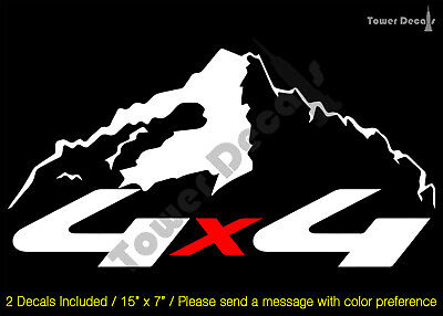 $30.79 • Buy 4x4 Snowcap Mountain 2 Color Vinyl Decal Fits:chevy Gmc Dodge Ford Nissan Toyota
