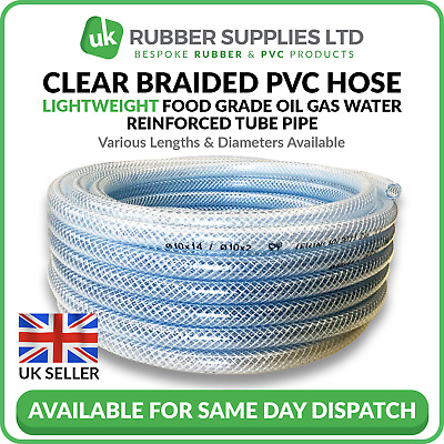£2.10 • Buy Clear PVC Braided Hose Pipe Lightweight Food Grade Air Water Oil Reinforced