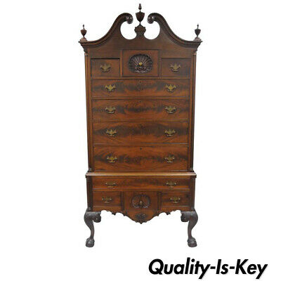 $11500 • Buy 19th C. Crotch Mahogany Chippendale Ball And Claw Highboy Tall Chest Of Drawers