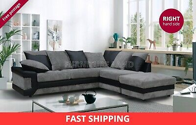 Extra Large 3/4 Seater Corner Sofa Footstool Black Grey Right Or Left Hand Side • 459£