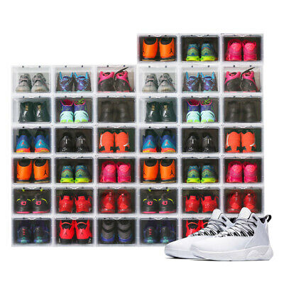 $199.99 • Buy Mens Shoe Sneaker Box Clear Side Drop Crates Stackable Storage Container 14 X11