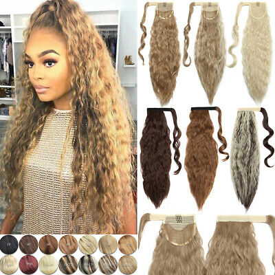 Real Thick Hair Wrap Around Corn Wave Ponytail Hair Piece Clip In Pony Tail Fake • 6.50£