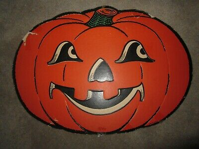 $ CDN45.77 • Buy Vtg Halloween Paper Die Cut Party Decoration Orange Jack O Lantern, 1940s