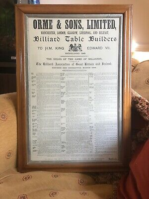 Snooker Assessories ORME AND SONS. The Rules Of The Game Of Billiards 1898 • 295£