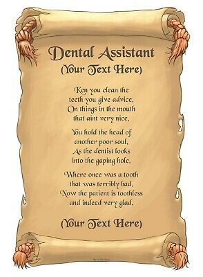 Personalised A4 / A5 Job Poem - Dental Assistant Scroll Gift • 2.64£