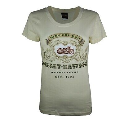 £5.99 • Buy Ladies Harley Davidson New RIDE THE HOG Cotton Body Fit Tops T Shirts 26