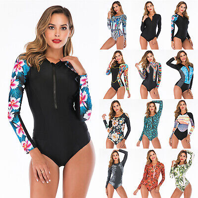 £11.43 • Buy Women's UV Protection Rash Guard Long Sleeve One Piece Swimsuit Surfing Wetsuit
