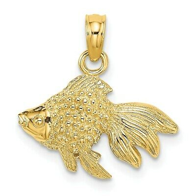 14K Yellow Gold 2-D & Textured Gold Fish Charm Pendant • 102.97$