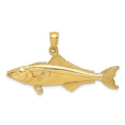 14K Yellow Gold 3-D Polished COBIA FISH Charm Pendant • 439.97$